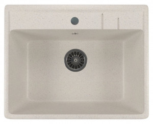 ML-GM15 (331) Кухонная мойка Mixline, врезная сверху, цвет - белый, 56 х 50.5 х 20 см