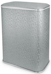 Корзина для белья Cameya FHH-M, серебро цветы, кант хром, средняя
