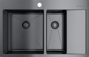 4973101 Мойка кухонная Omoikiri Akisame 78-2-GM-L вороненая сталь
