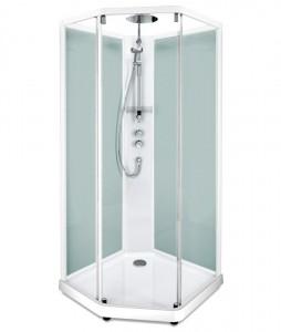 558.201.303 Душевая кабина IDO Showerama 10-5 Comfort, 90 x 90 см, стекло прозрачное, задние стенки матовые, профиль белый