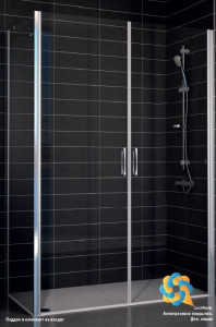 E2P-Fis 90*100 05 02 Душевой уголок Vegas Glass E2P-Fis бронзовый профиль, стекло шиншилла, 90 x 100 x 190 см