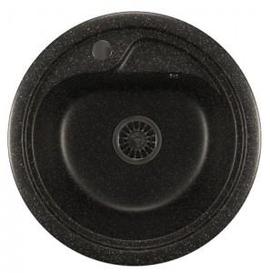 ML-GM10 (308) Кухонная мойка Mixline, врезная сверху, цвет - черный, 44.5 х 44.5 х 18 см