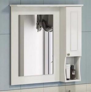 Зеркальный шкаф Comforty Палермо 80 R белый глянец