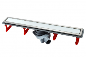 13000285 Душевой лоток Pestan Confluo Premium With White Glass Line 850, решетка белое закаленное стекло-сталь