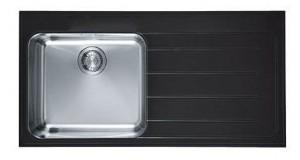 101.0150.350 Мойка Franke EPOS EOV 611,, установка сверху, нержавеющая сталь/стекло, черная, левая, 100*51 см