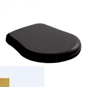 108704 nero/oro Крышка-сиденье Kerasan Retro, Soft-Close, черное глянцевое, петли золото