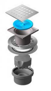 13000020 Трап водосток Pestan Confluo Standard Vertical Drops 150*150 мм нержавеющая сталь без рамки