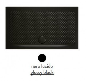 PDR019 03; 00 Поддон ArtCeram Texture 100 х 80 х 5,5 см,, прямоугольный, цвет - черный глянцевый, из искусственного камня