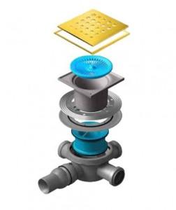 13000150 Трап водосток Pestan Confluo Standard Drops 3 Gold 150*150 мм нержавеющая сталь