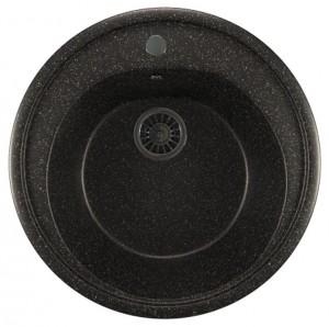 ML-GM11 (308) Кухонная мойка Mixline, врезная сверху, цвет - черный, 50.5 х 50.5 х 18 см