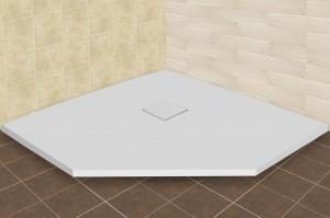 16155099-01 Душевой поддон RGW ST/T-0099W 90 x 90 см, трапеция, цвет белый, из искусственного камня
