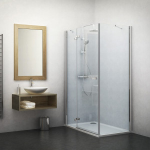 132-100000L-00-02/133-800000P-00-02 Душевой уголок Roltechnik Elegant Line 100 х 80 см, левая дверь, стекло прозрачное