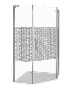 ФА00008 Душевое ограждение Good Door Fantasy PNT-100-F-CH 100 х 100 х 185 см,, стекло прозрачное с зеркальным рисунком, хром