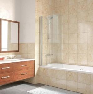 EV Lux 0075 09 10 Шторка на ванну Vegas Glass, профиль - золото, стекло – сатин, 75 х 150,5 см