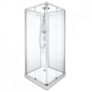 558.131.00.1/558.405.00.1/558.304.00.1/558.210.00.1 Душевая кабина IDO Showerama 10-5 Comfort квадратная, 90 x 90 см, профиль алюминий, стекло прозрачное/задние стенки - стекло матовое