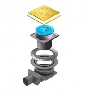 13000151 Трап водосток Pestan Confluo Standard Drops 4 Gold 150*150 мм нержавеющая сталь