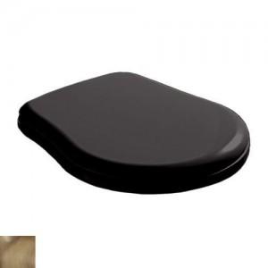 109304 nero/br Крышка-сиденье Kerasan Retro 109304 standart, черное глянцевое, петли бронза