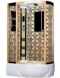 NG-7712GL Душевая кабина Niagara, 120 x 80 см с гидромассажем, стенки золото, левая