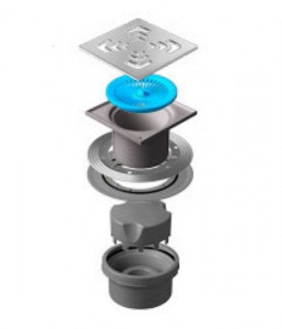 13000019 Трап водосток Pestan Confluo Standard Vertical Square 150*150 мм нержавеющая сталь без рамки