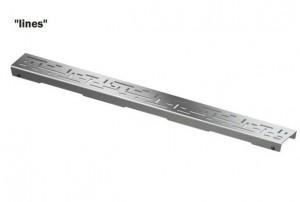 600821 Решетка TECE «LINES» из нержавеющей стали, прямая, длина 800 мм, сатин