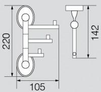 Крючок тройной поворотный Veragio Bonjour, бронза VR.BNR-7835.BR