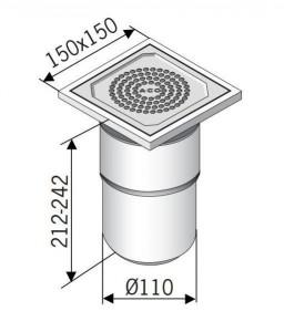 97200 Сливной трап ACO EG 150 прямой подвод