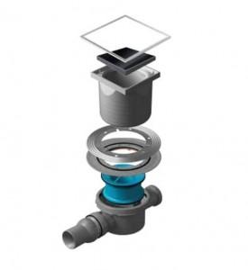 13000090 Трап водосток Pestan Confluo Standard Black Glass 2 150*150 черное стекло нержавеющая сталь с рамкой