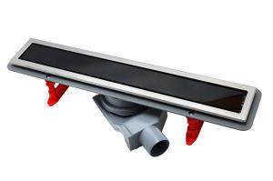 13000290 Душевой лоток Pestan Confluo Premium With Black Glass Line 300, решетка черное закаленное стекло-сталь