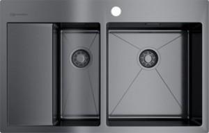 4973102 Мойка кухонная Omoikiri Akisame 78-2-GM-R вороненая сталь