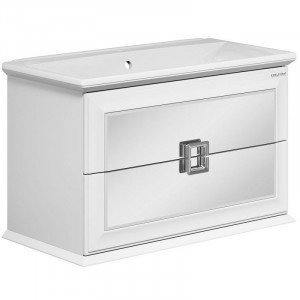 1-683-00-BL90 Тумба под раковину Edelform Milarita 90, 2 ящика, белая, фасад зеркальный