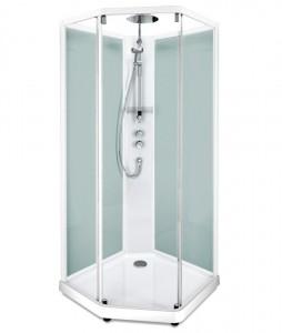 558.205.311 Душевая кабина IDO Showerama 10-5 Comfort, 80 x 90 см, стекло прозрачное, задние стенки матовые, профиль белый