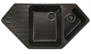 ML-GM25 (308) Кухонная мойка Mixline, врезная сверху, цвет - черный, 97 х 50.5 х 20 см