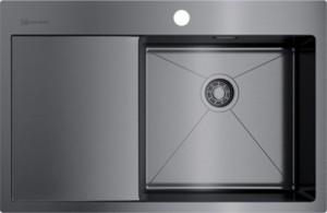 4973100 Мойка кухонная Omoikiri Akisame 78-GM-R вороненая сталь