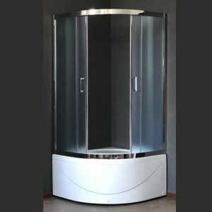 RB100BK-C-CH Душевой уголок Royal Bath 100 х 100 x 198 см четверть круга, стекло матовое, хром
