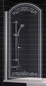 EV arc Lux 0075 01 B2 Шторка на ванну Vegas Glass, профиль - белый, стекло - прозрачное, рисунок - матовый, 75*155 см