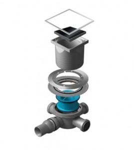 13000091 Трап водосток Pestan Confluo Standard Black Glass 3 150*150 черное стекло нержавеющая сталь с рамкой