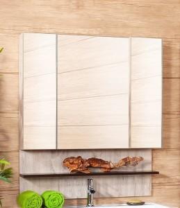 Зеркальный шкаф Бриклаер Карибы 100, фасад дуб кантри, корпус венге