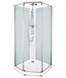 558.202.304 Душевая кабина IDO Showerama 10-5 Comfort, 90 x 90 см, стекло прозрачное, задние стенки матовые, профиль алюминий