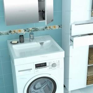 900101 Раковина Санта Лидер 60x59x8 над стиральной машиной с кронштейнами