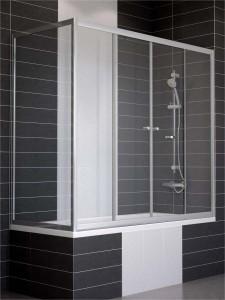 Z2V+ZVF 160*80 05 R03 Ограждение на ванну раздвижное с неподвижной боковой стороной Vegas Glass Z2V+ZVF 160*80, вход в центре
