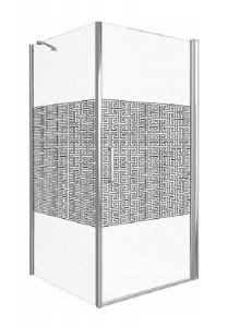 ФА00007 Душевое ограждение Good Door Fantasy CR-100-F-CH 100 х 100 х 185 см,, стекло прозрачное с зеркальным рисунком, хром