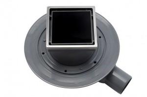 13000101 Трап водосток Pestan Confluo Standard Dry 1 Black Glass  100*100 Black Glass черное стекло с рамкой сталь