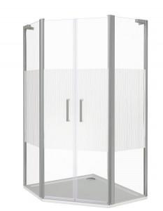 ПД00067 Душевое ограждение Good Door Pandora PNT-TD-100-T-CH 100 х 100 х 185 см,, стекло прозрачное с рисунком Тростник, хром