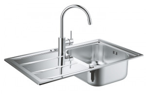 Комплект Grohe Concetto 31570SD0 Мойка кухонная K400 31566SD0 + Смеситель Concetto 32663001 для кухонной мойки