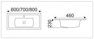 NY J841 - 60 Раковина CeramaLux Серия N