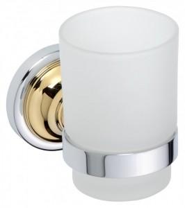 Стакан для зубных щеток Bemeta Retro 144210018 7 x 11.5 x 9.5 см, хром/золото