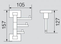 Крючок тройной поворотный Veragio Ramba, хром VR.RMB-4935.CR