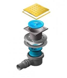 13000148 Трап водосток Pestan Confluo Standard Drops 1 Gold 150*150 мм нержавеющая сталь