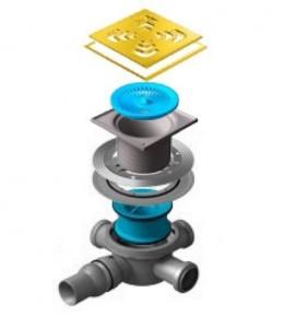 13000146 Трап водосток Pestan Confluo Standard Square 3 Gold 150*150 мм нержавеющая сталь