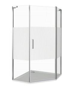 ПД00049 Душевое ограждение Good Door Pandora PNT-100-T-CH 100 х 100 х 185 см,, стекло прозрачное с рисунком Тростник, хром